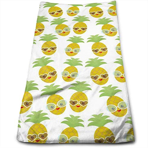 WTZYXS Kawaii Pineapple Face with Sunglasses Multi-Purpose Microfiber Towel Ultra Compact Super Absorbent and Fast Drying Sports Towel Travel Towel Beach Towel 12