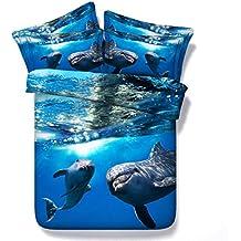 JF080 azul océano delfines imprimir colchas para cama king size
