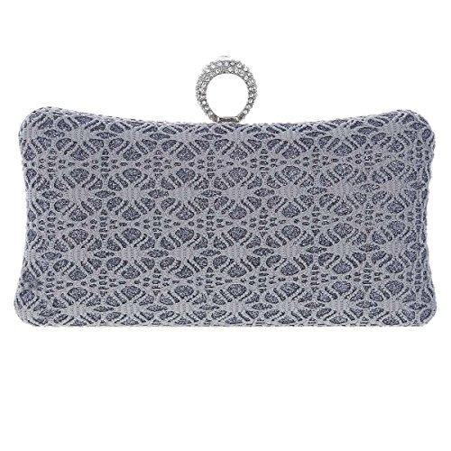 Damara® Damen Stickerei Rechteck Einfarbig Clutch Handtasche Mit Strassstein Gold