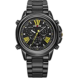 Alienwork DualTime Analogue-Digital Watch Chronograph LCD Wristwatch Multi-function XXL Oversized Metal black black OS.WH-3408-B-6