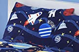 Novelux Kids Space Bedding Bettwäsche, 100% Baumwolle, Fadenzahl 200, Marineblau, Pillowcase 50x75cm