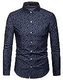 WHATLEES Herren Paisley Langarm Hemden - mit Stehkragen und durchgehendem Print BA0069-navy-XXL