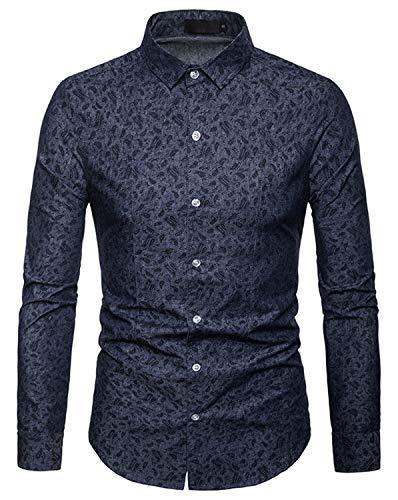 WHATLEES Herren Paisley Langarm Hemden - mit Stehkragen und durchgehendem Print BA0069-navy-XXL -