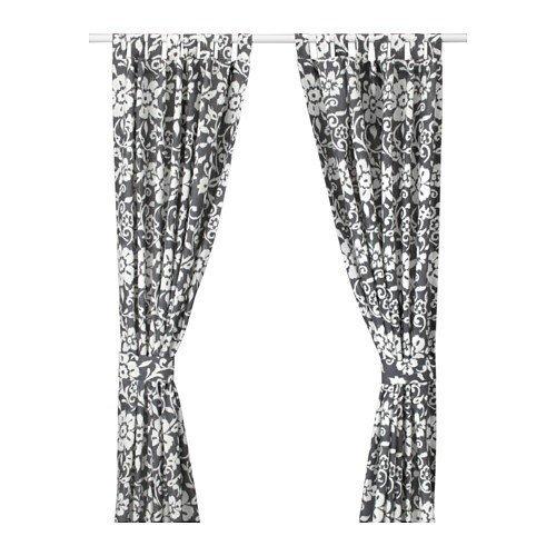 Ikea kungslilja Juego de 2cortinas con alzapaños en gris/blanco; (145x 300cm)
