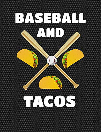 Baseball And Tacos Notebook - College Ruled: 130 Pages 8.5 x 11 Lined Writing Paper School Student Teacher Office por Rengaw Creations