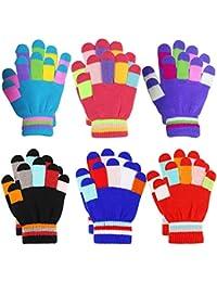 Guantes de invierno para niños Guantes de rayas de colores de punto Guantes mágicos para dedos completos Guantes elásticos y cálidos para niños y niñas, unisex, 4-9 años