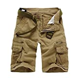 Kuson Hommes Shorts Bermudas Cargo Outdoor Coton Casual Lâche avec Poche Jaune FR 46