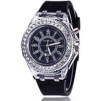 ETBOTU - Reloj de pulsera digital de cuarzo para estudiantes, LED, silicona, estilo diamante, color negro