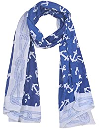CROWN Women's Chiffon Dupatta (Blue & White)