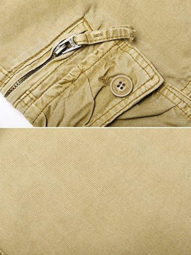 OCHENTA Herren Freizeithose Wasserwäsche Cargohose mehrere Tasche aus Baumwolle Loose-Fit #1866 Kaki