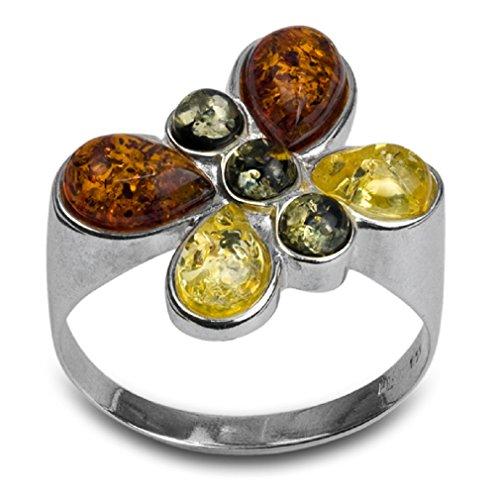 Noda anillo de plata con ámbares multicolores...