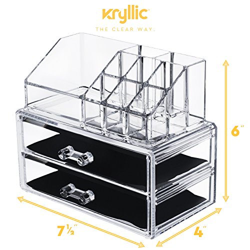 AcryliCase Acrylic Makeup & Jewelry Organizer, Cosmetic & Accessories Display Box, 2 Piece Set Clear