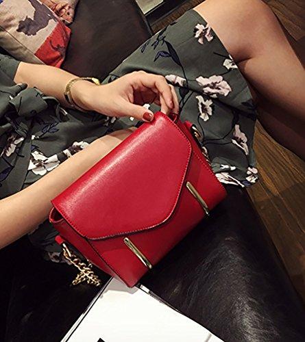 LvRao Frauen Kleine Schultertaschen PU Leder Langer Bügel Einkaufstaschen Grau Rot