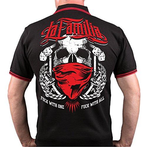 Männer und Herren POLO Shirt La Familia - Fuck with one mit Rückendruck Schwarz/Rot