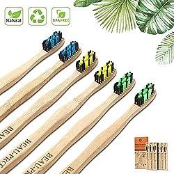 Cepillo Dientes Bambu 6 PCS Cepillo de Bambu Cepillos de Dientes de Bambu vegano, zero waste, biológico, biodegradable, sostenibles,100% libre de BPA-Bamboo Toothbrush con embalaje ecológico