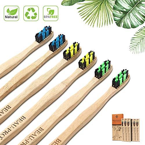 Cepillo Dientes Bambu 6 PCS Cepillo de Bambu Cepillos de Dientes de Bambu vegano, zero waste, biológico, biodegradable, sostenibles,100{dcd4e5e765a96579a196d501a45571e71b9f08107a64464d752b3d762819fb2a} libre de BPA-Bamboo Toothbrush con embalaje ecológico