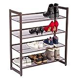 Yaheetech 4 Ebenen Schuhregal Metall Schuhständer verstellbar Schuhablage Wohnzimmer/Badezimmer Regal ca. 74 x 30,5 x 83 cm