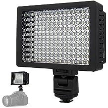 BoRui HD-160 160 LED de luz de vídeo Lanmp 9.6W Dimmable Ultra Panel de alta potencia con adaptador de zapata para Canon, Nikon, Olympus, Pentax DSLR y videocámaras