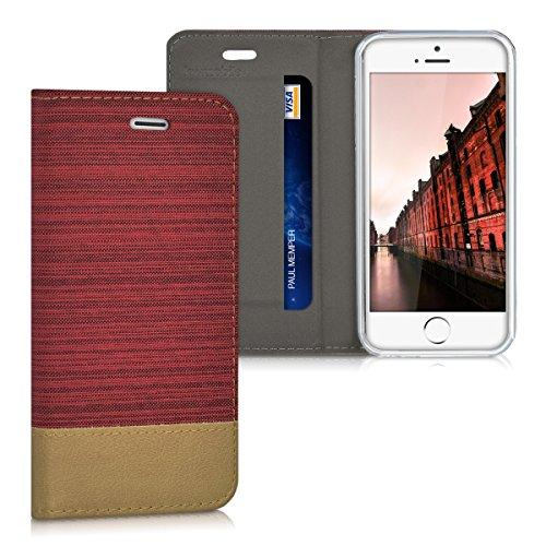 kwmobile Apple iPhone SE / 5 / 5S Hülle - Stoff Handy Cover Case mit Ständer - Schutzhülle für Apple iPhone SE / 5 / 5S - Tasche für Handy (Buch, Apple, iPhone SE / 5 / 5S, rot) (Buch Handy Cover Iphone 5)