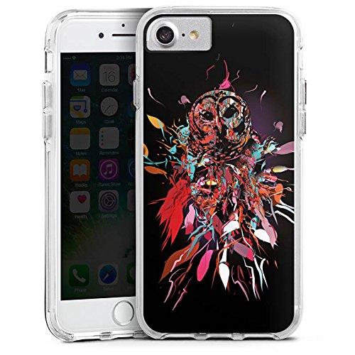 Apple iPhone 7 Bumper Hülle Bumper Case Glitzer Hülle Eule Art Kunst Bumper Case transparent