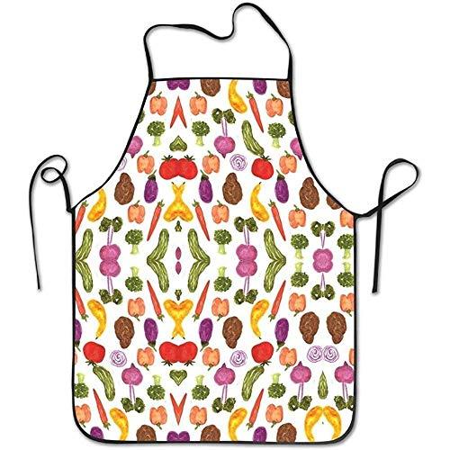 LarissaHi Lustige Schürze Aubergine Karotte Gurke Tomate Kochen Backen BBQ Schürzen für Frauen Männer