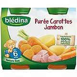 Blédina - Petits pots aux carottes et jambon, dès 6 mois - Les 2 pots de 200g (400g) - (pour la quantité plus...