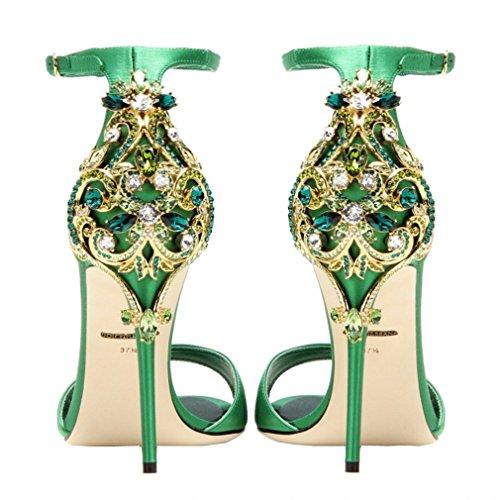 ENMAYER Femmes Semelle en caoutchouc Peep Toe Buckle Strap Stiletto Talons Rhinestone Casual Shoes Sandales en cuir chaussures Vert