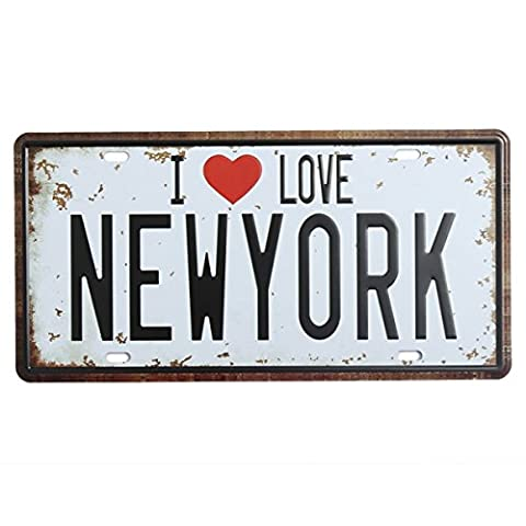 Bluelover New York License Plate Tin signe Vintage Metal Plaque Poster Bar Pub maillot Wall Decor