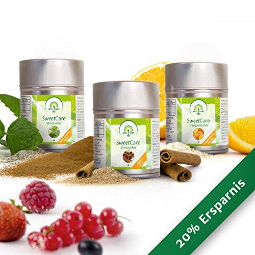 SweetCare Orangen-, Zimt- und Mint- Zuckerersatz mit Erythritol und Stevia, die natürliche Alternative zu Zucker