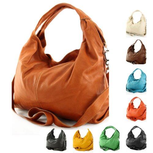 modamoda de - ital. Ledertasche Damenhandtasche Schultertasche Damentasche Nappaleder DS26 Schokoladenbraun