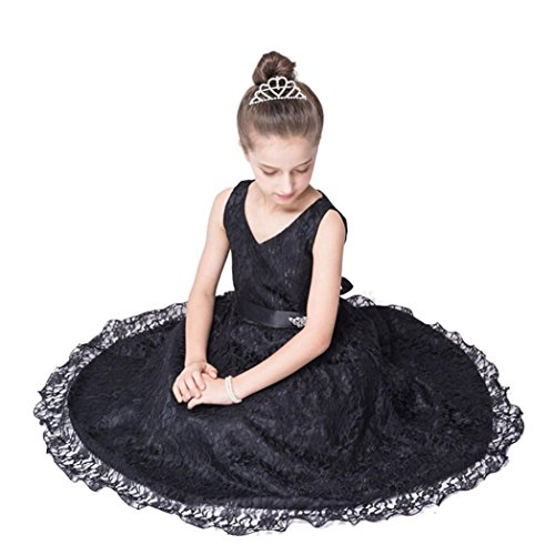 tzen Gaze Kleid, DoraMe Baby Mädchen ärmellose Prinzessin Formelle Kleid Länge Partei Hochzeit Brautjungfer Kleid (Schwarz, 8 Jahr) (Halloween-kostüme Für Mollige Mädchen)