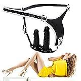 Erotik chastity belt female chastity device Lederkeuschheitsgürtel mit doppelt Dildo masturbieren sexspielzeug für männer und Frauen -