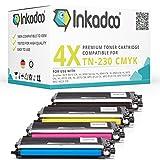 Inkadoo Toner ersetzt Brother TN-230 TN-230BK - TN-230Y - 4X Premium Drucker-Kartusche Kompatibel - Schwarz, Cyan, Magenta, Gelb - 1x 2.200 & 3X 1.400 Seiten