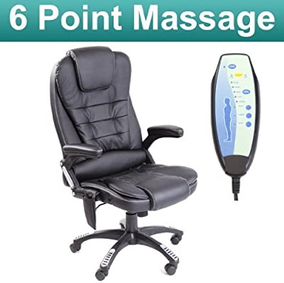 RIO BLACK MASSAGE RECLINING LEATHER OFFICE CHAIR w 6 POINT MASSAGE HIGH BACK COMPUTER DESK 360 SWIVEL - low-cost UK light store.