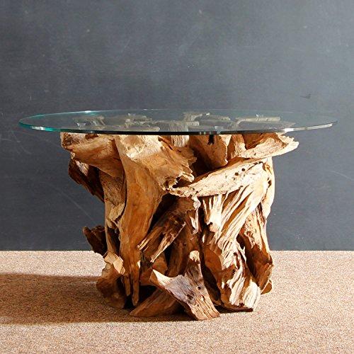 Tavolini Da Salotto In Legno Rustico.Mobel Bressmer Radice Legno Tavolino Da Salotto Ikal In Legno Massello Con Piano In Vetro 80 Cm Tavolo In Mano Lavoro Legno Vecchio Legno Rustico