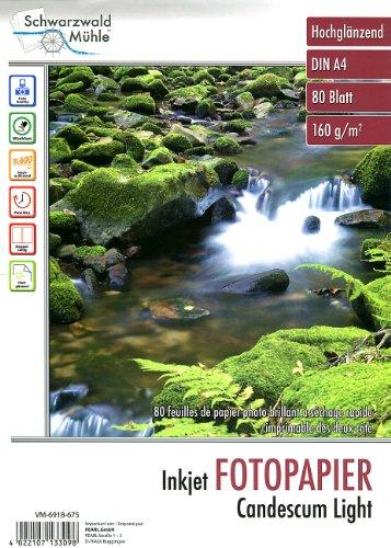 "Schwarzwald Mühle Fotopapier A4: 80 Bl. Fotopapier ""Candescum Light"" 2-seitig glossy (Drucker-Papier)"