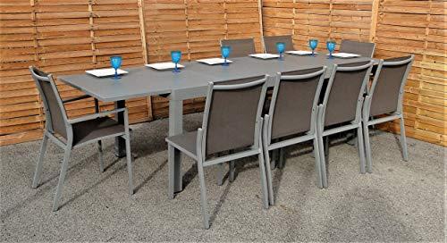 Mademoiselle KAYLA | Table et chaises extérieur Sorrente Gris, en Aluminium et Verre, Table de Jardin Extensible 8/12 Places - Mobilier de qualité