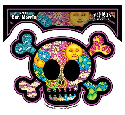 "Preisvergleich Produktbild Dan Morris - Beautiful Imagery Cute Skull etiket Sticker Decal - 5 1/8""w x 3 5/8""h - Weather Resistant, Long Lasting for Any Surface"