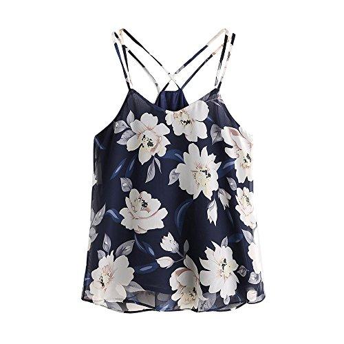 Frashing Specially to Wear it !!!Mujeres gasa sin mangas Halterneck tanque de la cosecha Tops chaleco Blusa Camiseta Halterneck Tank Crop Tops Vest Blouse T-Shirt (Armada, L) Blusas De Mujeres