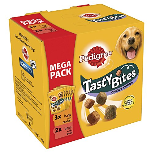 Pedigree Tasty Bites Chewy Cubes Hunde Snacks gemischte Sorten Megapackung (5 Packungen) (130g) (Bunt) -