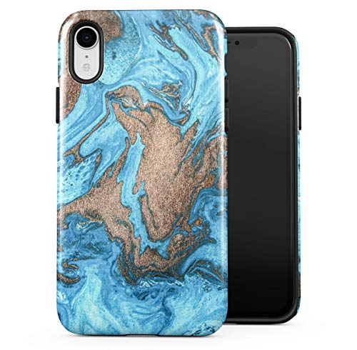 Case Cover Kompatibel mit Apple iPhone XR Silicone Inner & Outer Hülle 2-Teilig, Doppellagig: PC + TPU Robuste Handyhülle Water Gold & Turquoise Marble Stone Print -