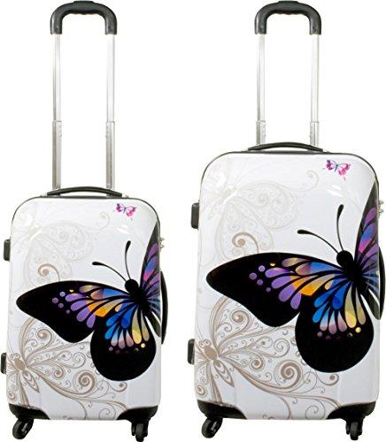 Hartschalen ABS Kofferset 2 tlg Reisekofferset mit Motiv Farbe Butterfly