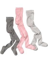 wellyou, Kinder-Strumpfhosen für Mädchen 3er Set, Baby-Strumpfhosen rosa, grau gerippt, hoher Baumwoll-Anteil