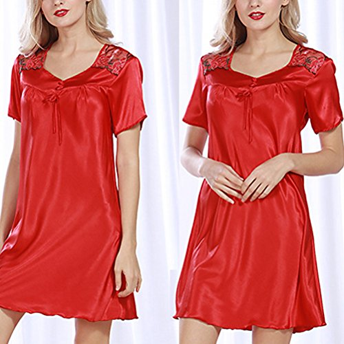 Zhhlinyuan Fashion Satin Lace Chemise Nightgown Women's Short Sleeves Lingerie Sleepwear red