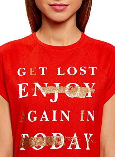 oodji Ultra Damen Tagless Baumwoll-T-Shirt mit Druck und Unbearbeitetem Saum Rot (4593P)