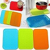 Generic #1 Green : DIY Holder Mat Silicone Kitchen Pot Tray Straightener Heat Non-slip Resistant