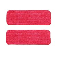 Lumanuby 2 Pcs Mop Refill Mop Replacement Cleaning Pads Reveal Mop Household Mop Microfiber Filled Mop Cloth Can Wash Dry/Wet Home Mop Dust Mat 14.5x43cm (Red)