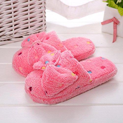 Ciabatte in cotone, Longra Pantofole di cotone delle donne i nuovi pistoni del cotone del nodo della farfalla degli amanti femminili Rosso