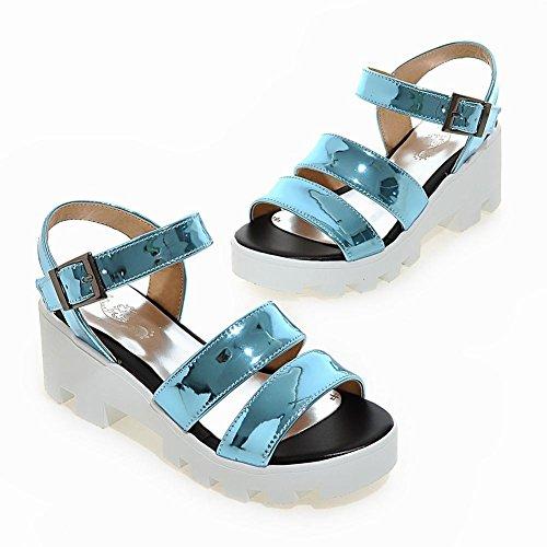 Mee Shoes Damen bequem chunky heels Plateau Sandalen Blau