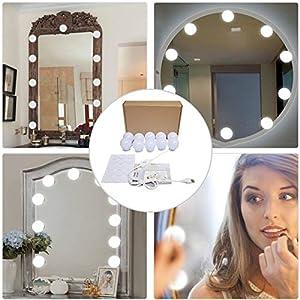 Spiegel Beleuchtung Dimmbar Schminklicht Make-up Lampe Hollywood-Stil LED Spiegelleuchte Schminktisch Schlafzimmer Badezimmer DIY Leuchten10 LED-Lampen,Enthält Keinen Spiegel (Weiß)